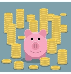 Piggy bank and coin stacks vector image
