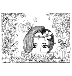 zentangl girl looks out of the vector image