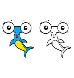 Cartoon hammerhead vector image vector image