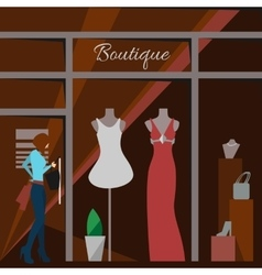 Clothing store Man and woman boutique vector image vector image