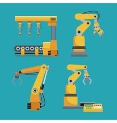 collection automated robotic industrial equipment vector image