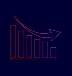 declining graph sign line icon with vector image vector image