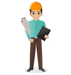 Male architects holding blueprint vector