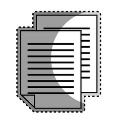 monochrome contour sticker with document file vector image vector image