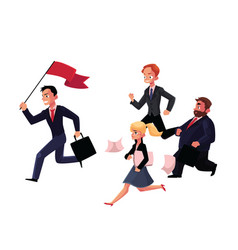 people running after leader holding flag business vector image