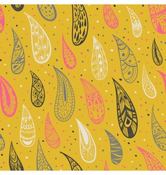 Seamless texture with rain drops on a yellow vector image