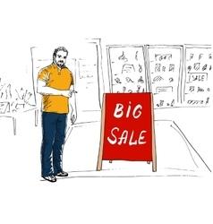 Seller showing stand Big Sale vector image vector image