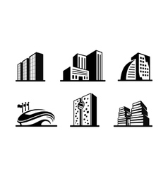 Set of black and white building icons vector image vector image