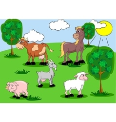 Set of domestic animals on background vector image