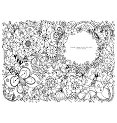 zentangl floral frame with a vector image