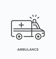 ambulance car line icon outline vector image
