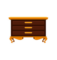 Antique chest of drawers with golden legs handles vector