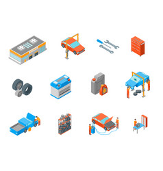 auto service signs 3d icon set isometric view vector image