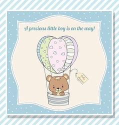 baby boy shower card with teddy bear vector image