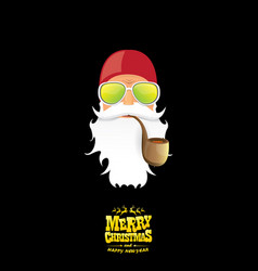 Bad rock n roll dj santa claus with smoking vector