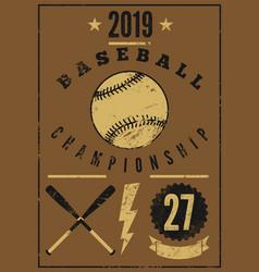 Baseball championship vintage grunge style poster vector