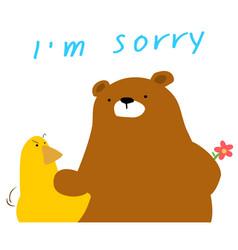 Bear say sorry to duck cartoon vector