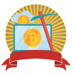bitcoin and cryptocurrency mining circled emblem vector image