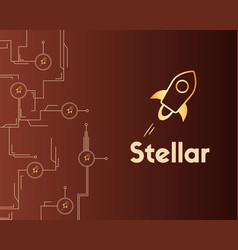 Blockchain stellar style circuit on dark vector