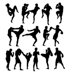 Boxing Activity Sport Silhouettes vector image