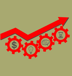 Business success concept red arrow up and gears vector