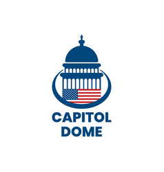 Capitol dome with american flag logo design vector
