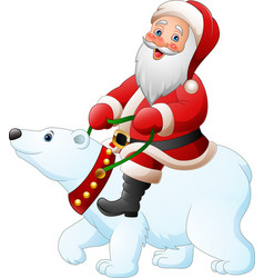 Cartoon santa claus riding polar bear vector