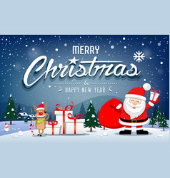 christmas banners santa claus and reindeer smile vector image