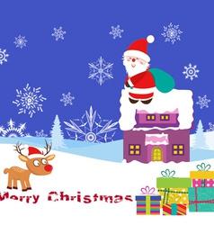 Christmas Card with Santa Claus on christmas house vector