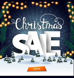 christmas sale square discount banner with winter vector image