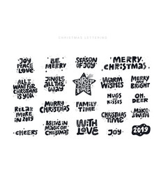 christmas wishes quotes hand drawn black lettering vector image