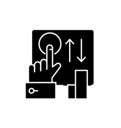 click here black icon sign on isolated vector image