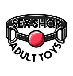 color vintage sex shop emblem vector image