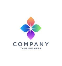 Colorful leaf compass logo design vector