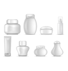 Cosmetic package icons set bottle tube spray sign vector