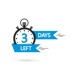 Countdown with left 3 day timer with 3 day go vector
