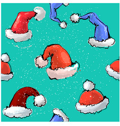 Cute colorful seamless pattern santa s hats vector