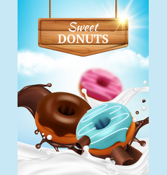 donuts ads bakery tasty delicious round sweet vector image