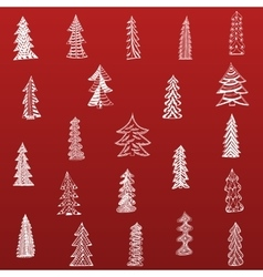 Doodle Christmas Tree Set on red Background vector