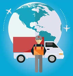 E-commerce delivery shopping online all over vector