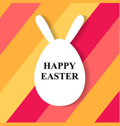 easter greeting card with egg with rabbit ears vector image