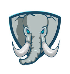 Elephant shield logo cartoon symbol vector