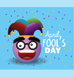 Emoji face with joker hat to fools day vector