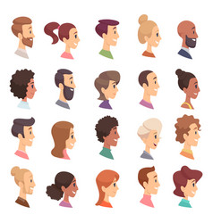 faces profile avatars people expression simple vector image