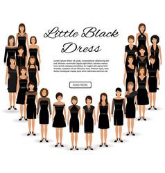 Fashion little black dresses set of women vector