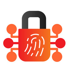 Fingerprint with lock flat icon finger scan vector