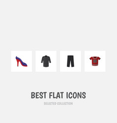 flat icon clothes set of heeled shoe pants vector image