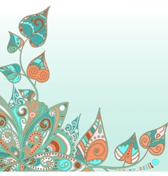Floral background with doodle flower and leaves vector image