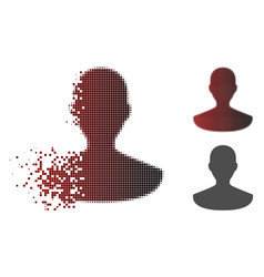 fragmented dotted halftone person icon vector image