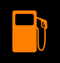 gas pump sign orange icon on black background vector image